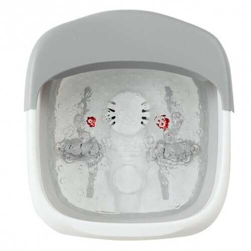 Foot Spa Bath Motorized Massager with Heat Red Light-Gray - Color: Gray