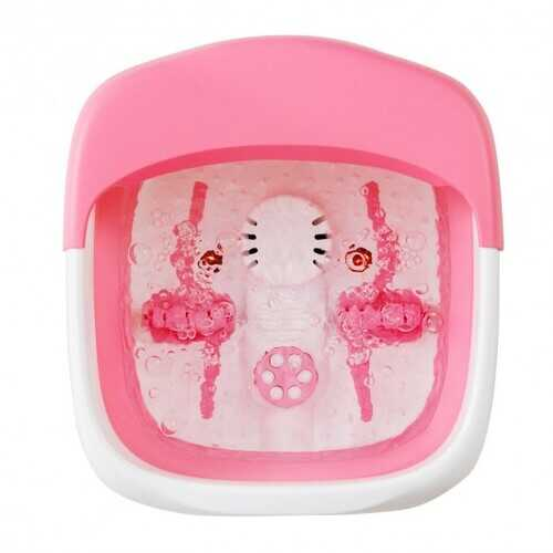Foot Spa Bath Motorized Massager with Heat Red Light-Pink - Color: Pink