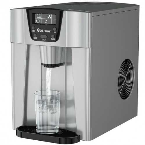 2-In-1 Ice Maker Water Dispenser 36lbs/24H LCD Display-Silver
