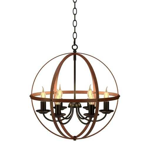 6-Light Orb Chandelier Rustic Vintage Ceiling Lamp