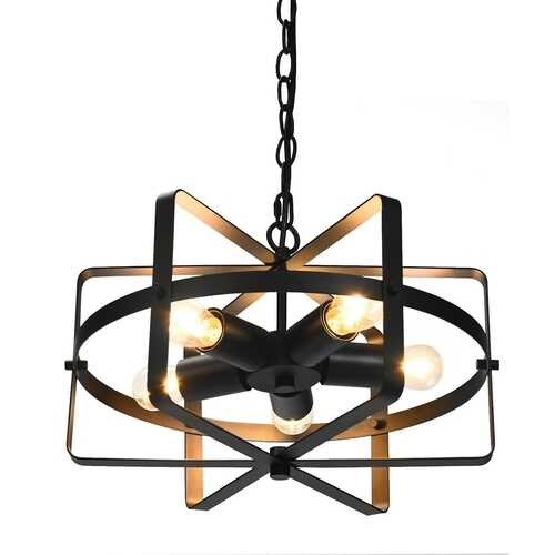 5-Light Metal Drum Shape Industrial Pendant Light