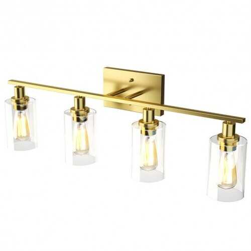 4-Light Wall Sconce with Clear Glass Shade-Golden