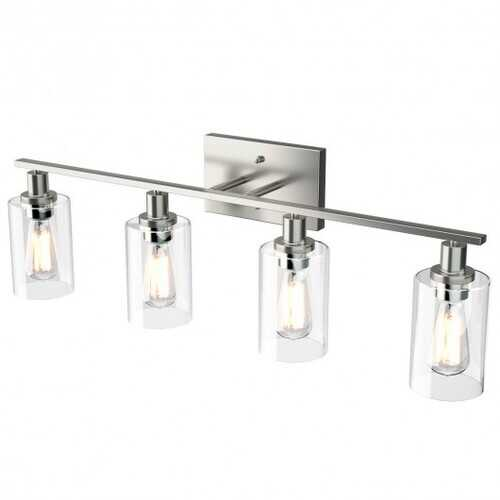 4-Light Wall Sconce with Clear Glass Shade-Sliver