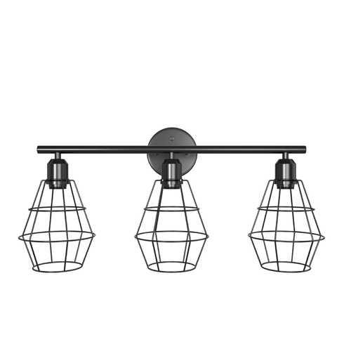 3-Light Industrial Bathroom Vanity Cage Light Vintage Wall Lamp