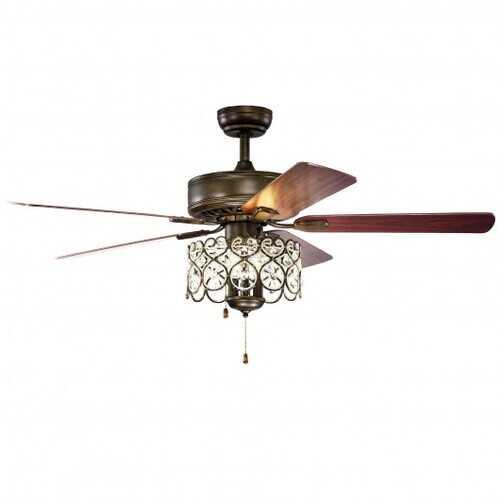 """52"""" Ceiling Fan with Light Retro Crystal Chandelier Ceiling Fan 5 Reversible Fan - Color: Bronze"""