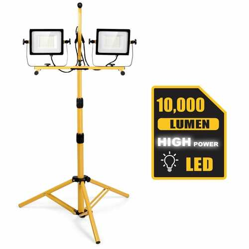 100 W 10 000 lm LED Dual-Head Work Light with Stand