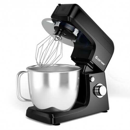 3-in-1 Multi-functional 6-speed Tilt-head Food Stand Mixer-Black