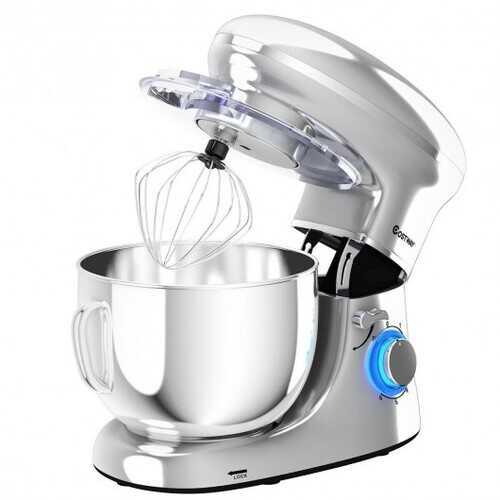 6.3 Quart Tilt-Head Food Stand Mixer 6 Speed 660W-Silver