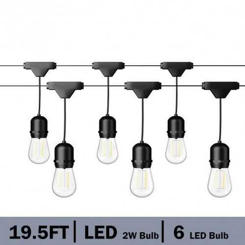 19.5FT LED Outdoor Waterproof Globe String Lights Bulbs