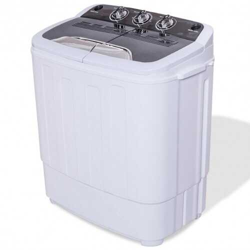 8 Lbs Compact Mini Twin Tub Washing Spiner Machine - Color: Black & White