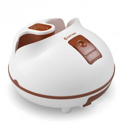 Steam Foot Spa Bath Massager Foot Sauna Care with Heating Timer Electric Rollers-Brown - Color: Brown