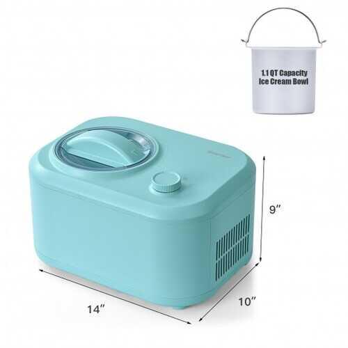 1.1 QT Ice Cream Maker Automatic Frozen Dessert Machine with Spoon-Green - Color: Green