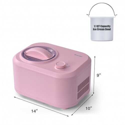 1.1 QT Ice Cream Maker Automatic Frozen Dessert Machine with Spoon-Pink - Color: Pink
