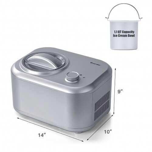 1.1 QT Ice Cream Maker Automatic Frozen Dessert Machine with Spoon-Silver - Color: Silver