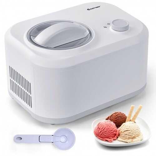 1.1 QT Ice Cream Maker Automatic Frozen Dessert Machine with Spoon-White - Color: White