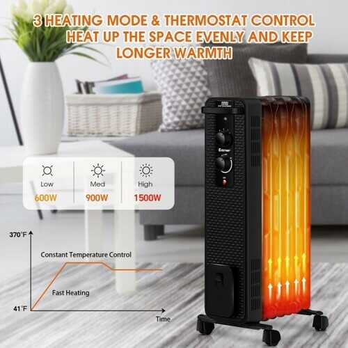 1500 W Oil-Filled Heater Portable Radiator Space Heater with Adjustable Thermostat-Black - Color: Black