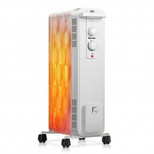 1500 W Oil-Filled Heater Portable Radiator Space Heater with Adjustable Thermostat-White - Color: White