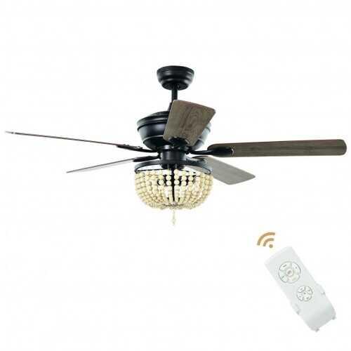 "52"" Retro Ceiling Fan Light with Reversible Blades Remote Control-Black - Color: Black"