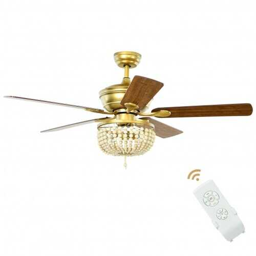"""52"""" Retro Ceiling Fan Light with Reversible Blades Remote Control-Golden - Color: Golden"""