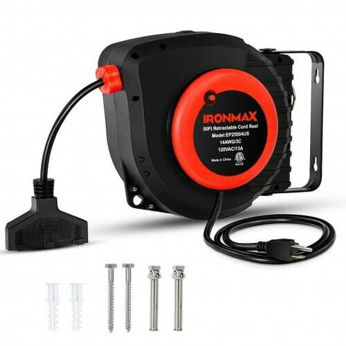 50ft Retractable Extension Cord Reel with Triple Tap Outlet - Color: Black & Red