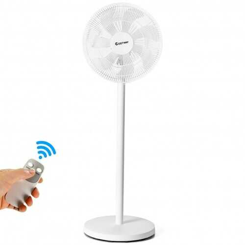 """16"""" Oscillating Pedestal 3-Speed Adjustable Height Fan with Remote Control-White - Color: White"""