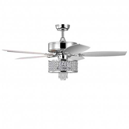50 inch Electric Crystal Ceiling Fan with Light Adjustable Speed Remote Control-Silver - Color: Silver