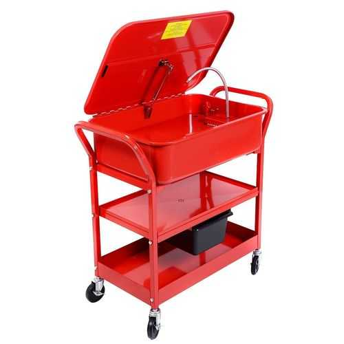 20 Gallon Mobile Parts Washer Cart Electric Solvent Pump Cleaner