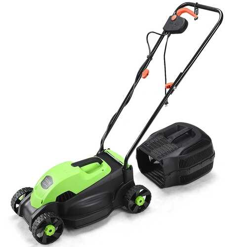 """14"""" Electric Push Lawn Corded Mower with Grass Bag-Green - Color: Green"""