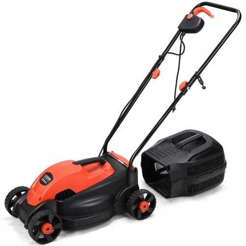 """14"""" Electric Push Lawn Corded Mower with Grass Bag-Red - Color: Red"""