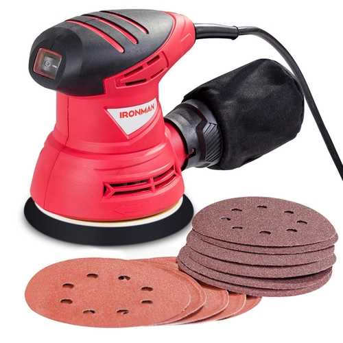 """5"""" Palm Random Orbit Sander with Dust Collector and Sandpapers"""