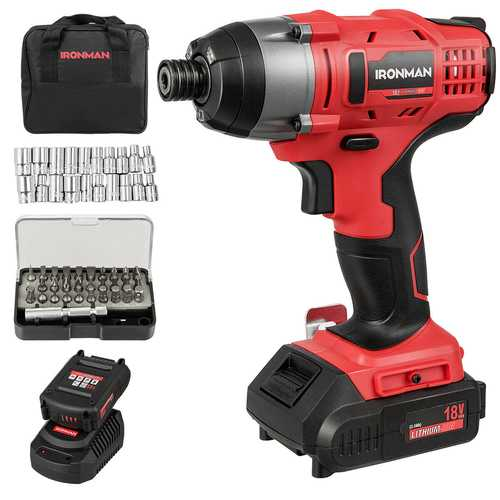 18V Cordless Driver Impact Tool Kit with LED Light