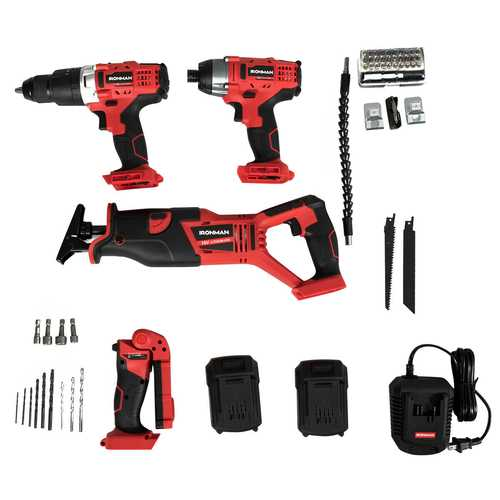 18V Combo Kit Four-piece Cordless Electric Impact Drill Set