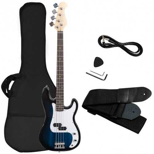 Electric Bass Guitar Full Size 4 String  Strap Guitar-Blue - Color: Blue