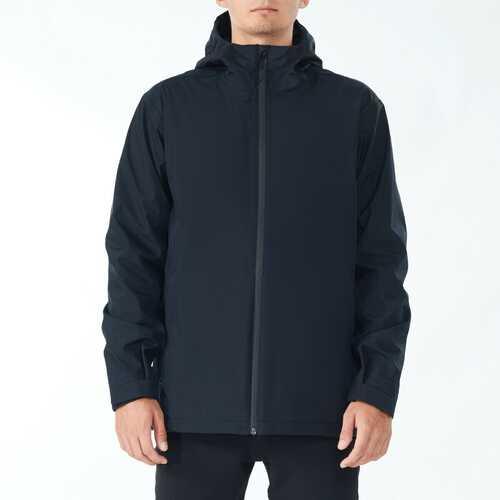 Men's Waterproof Rain Windproof Hooded Raincoat Jacket-Black-XL