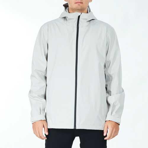 Men's Waterproof Rain Windproof Hooded Raincoat Jacket-Gray-L