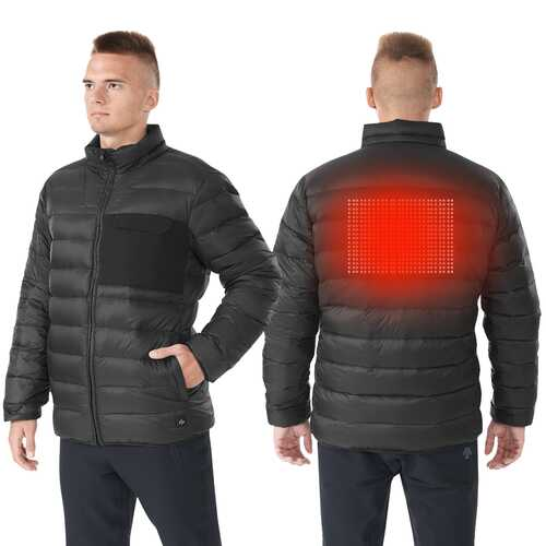 Electric USB Men's Down Heated Jacket Thermal Stand Collar Coat-Black-XXXL