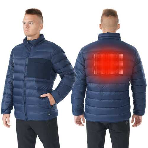 Electric USB Men's Down Heated Jacket Thermal Stand Collar Coat-Navy-XXXL