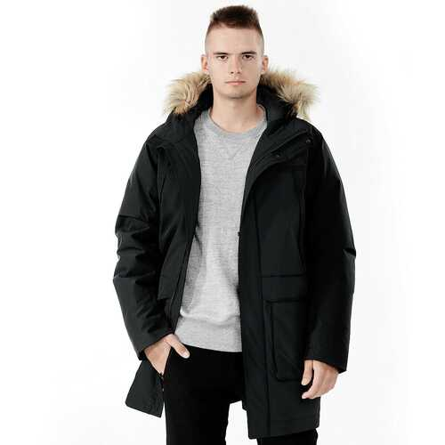 Men's Hooded Insulated Winter Puffer Parka Coat-Black-L