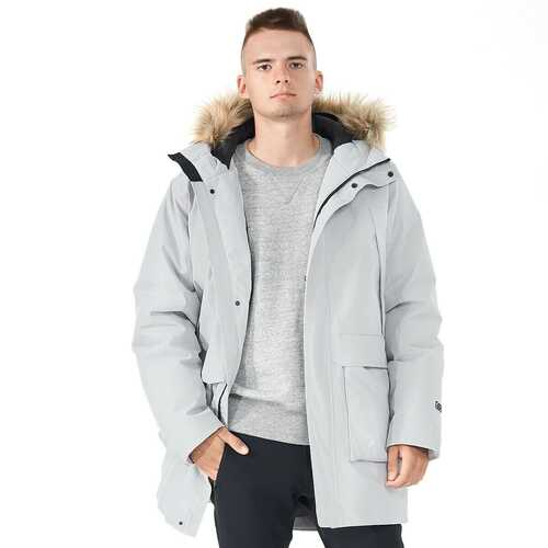 Men's Hooded Insulated Winter Puffer Parka Coat-Gray-M