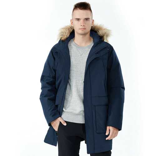 Men's Hooded Insulated Winter Puffer Parka Coat-Navy-L