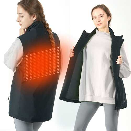 Men' & Women' Electric USB Heated  Sleeveless Vest-Black-S