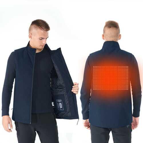 Men' & Women' Electric USB Heated  Sleeveless Vest-Navy-M