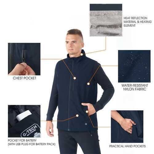Men' & Women' Electric USB Heated  Sleeveless Vest-Navy-XXL