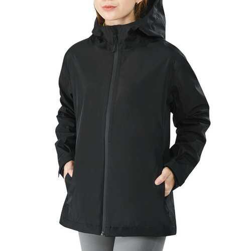 Women's Waterproof & Windproof Rain Jacket with Velcro Cuff-Black-XL