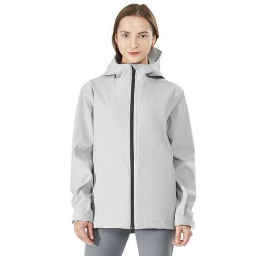 Women's Waterproof & Windproof Rain Jacket with Velcro Cuff-Gray-L
