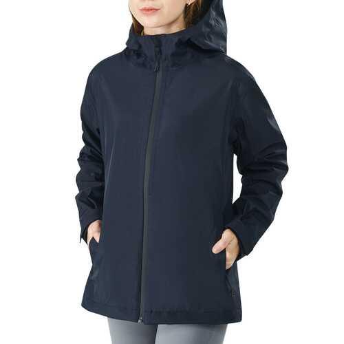 Women's Waterproof & Windproof Rain Jacket with Velcro Cuff-Navy-XXL