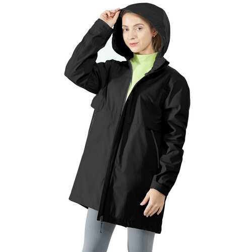 Hooded  Women's Wind & Waterproof Trench Rain Jacket-Black-XXL