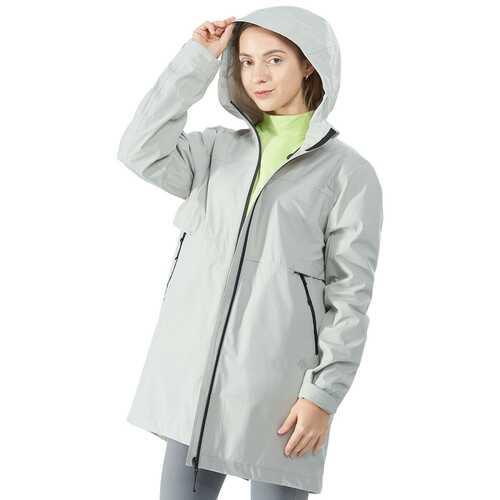 Hooded  Women's Wind & Waterproof Trench Rain Jacket-Gray-XXL