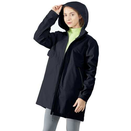 Hooded  Women's Wind & Waterproof Trench Rain Jacket-Navy-L
