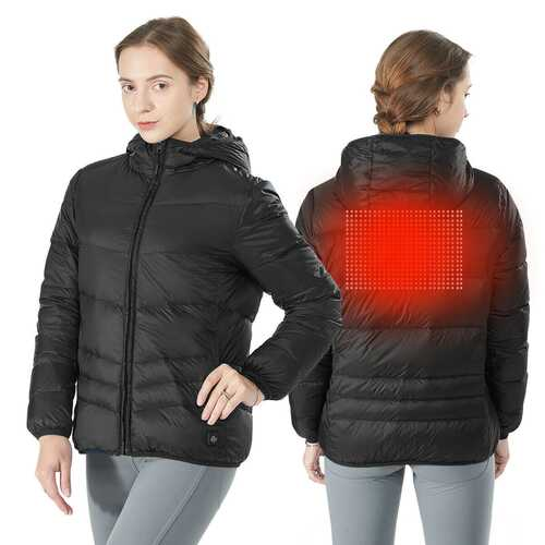 Hooded Electric USB Women's Down Heated Jacket-Black-XXL